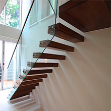 Modern Floating Staircase Indoor Wooden Staircase Design with Stainless Steel/Carbon Steel Metal Invisible Stringer