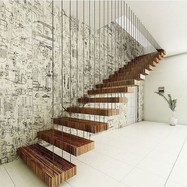 Incroyable Professional Modern Floating Staircase Design Prefabricated Wooden/Laminated  Tempered Glass Stairs Treads With Anti  ...