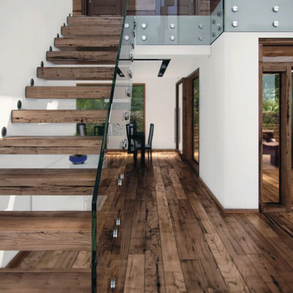 Timber Stairs Treads Prefabricated Straight Staircase With