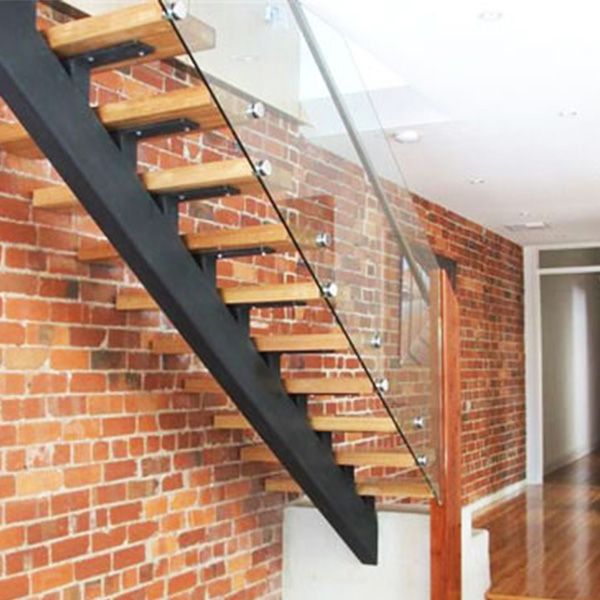 Customized Single Sawtooth Carbon Steel Stringer Straight Staircase With  Glass/Wrought Iron Railing Parts Designs