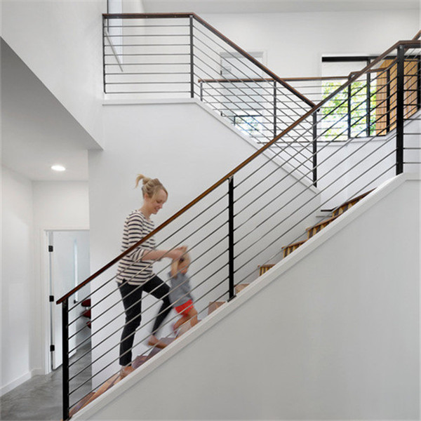 Steel Stair Balustrade With Stainless Steel Rod Railing Design