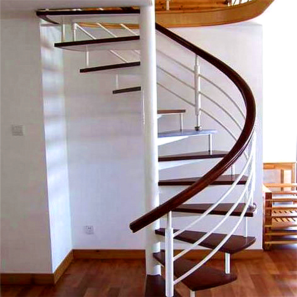 Modern Villa Design Oak Wood Stairs Treads Spiral Staircase With Solid Rod  Grill Railing