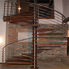 Antique Design Interior Single Post Spiral Staircase With Open Riser Wood Stairs Treads Solid Metal Ros Bar Railing
