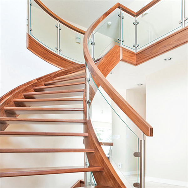 luxury indoor solid wood antique curved staircase with u channel stringer tempered glass railing