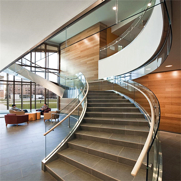 Staircase Glass Railing Designs: Luxury Indoor Solid Wood Antique Curved Staircase With U