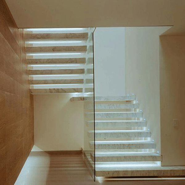 Outdoor Floating Stairs Florida Project: Adorable Ivory-white Prefabricated Floating Staircase With