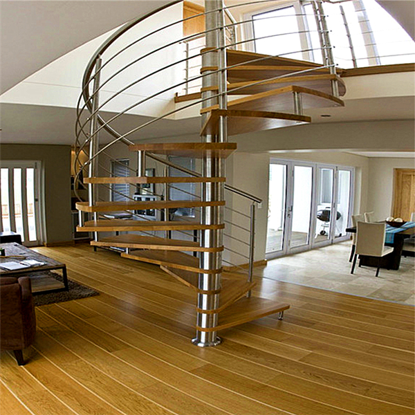 Modern Villa Design Oak Wood Stairs Treads Spiral ...